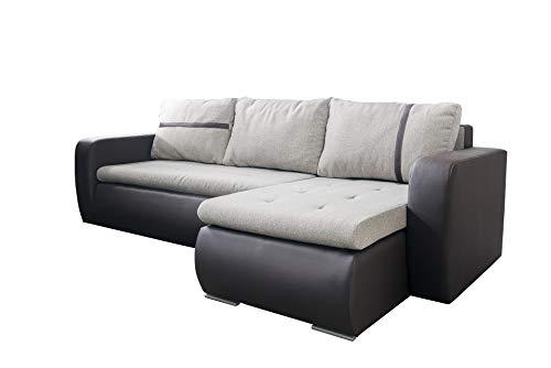 mb-moebel Ecksofa Sofa Eckcouch Couch mit Schlaffunktion und Bettkasten Ottomane L-Form Schlafsofa Bettsofa Polstergarnitur - Macon (Ecksofa Rechts, Braun)