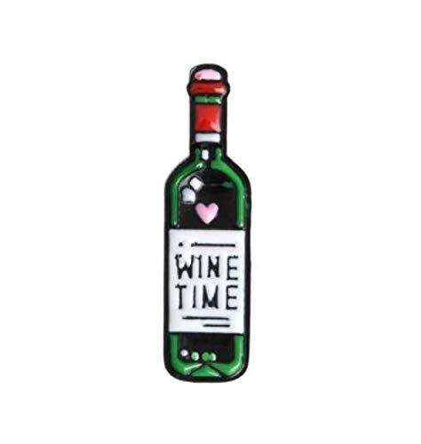 wangk Tiempo de Vino Mini Lindo Vino y Copas de Vino Pareja Pines Botella de Vino Tinto Copa broches Pin Insignia para los Amantes Mejores Amigos Pines Redwine