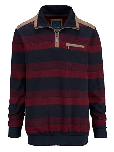 BABISTA Herren Sweatshirt Langarm Gestreift mit Umlegekragen in Rot aus Baumwolle