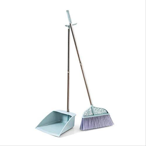 ZXCJIA Escoba Escoba Y Dustpan Set Herramientas De Limpieza del Hogar Plástico PP Escoba Combinación De Pelo Suave Limpio Sin Polvo Juegos De Ayudante Sin Polvo 98 * 30cm Azul