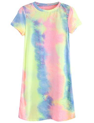 Romwe Women's Summer Casual Short Sleeve Tunic Dress Tie Dye T-Shirt Dress Multicolor S