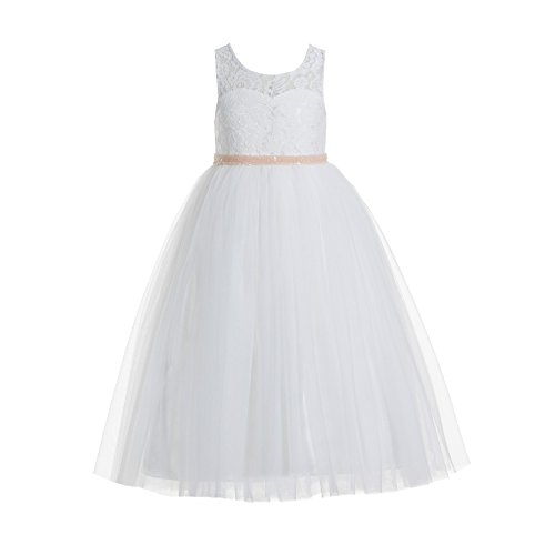 ekidsbridal Floral Lace Scoop Neck A-Line Ivory Flower Girl Dress Keyhole Back Baptism Dresses Junior Dress 178 6