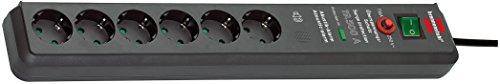 Brennenstuhl Secure-Tec, Steckdosenleiste 6-fach mit Überspannungsschutz und akustischem Warnsignal (3m Kabel und Schalter) grau