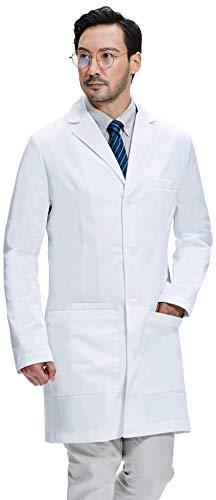 Dr. James Bata de Laboratorio Hombre, Corte Semientallado, Bolsillos para Teléfonos Inteligente y Tabletas (M)