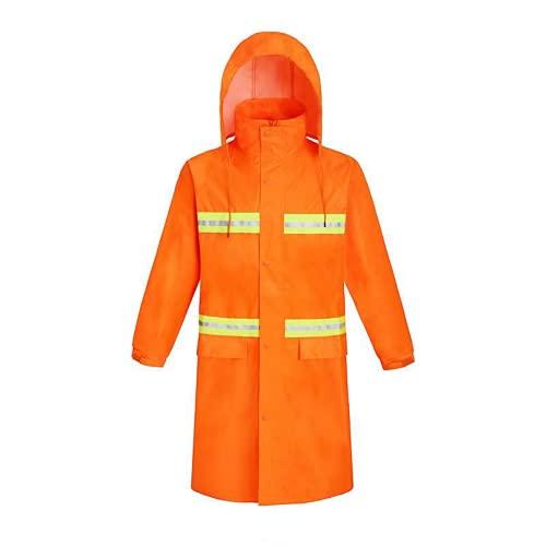 YUHANG Chubasquero largo para hombre, impermeable, reutilizable, poncho de lluvia con capucha, senderismo, pesca, ropa de lluvia para adultos (XXL, naranja)