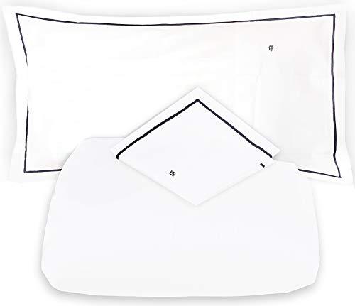 Tommy Hilfiger - Juego de sábanas para cama de matrimonio de 2 plazas, satén de 110 hilos, sábana encimera + 2 fundas de almohada (no incluye sábana bajera), color blanco