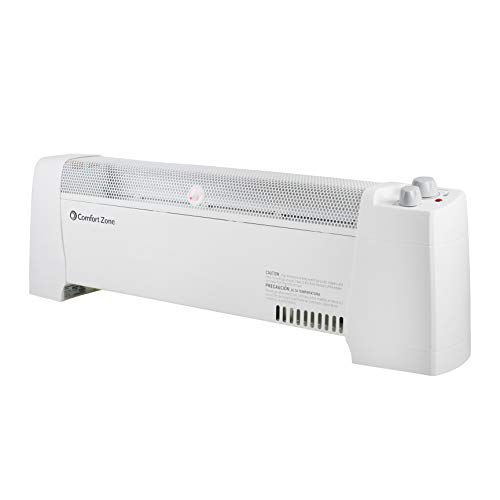 Comfort Zone CZ600 1500-Watt Convection Baseboard Heater with Silent Operation, White Comfort Heater Space Zone®
