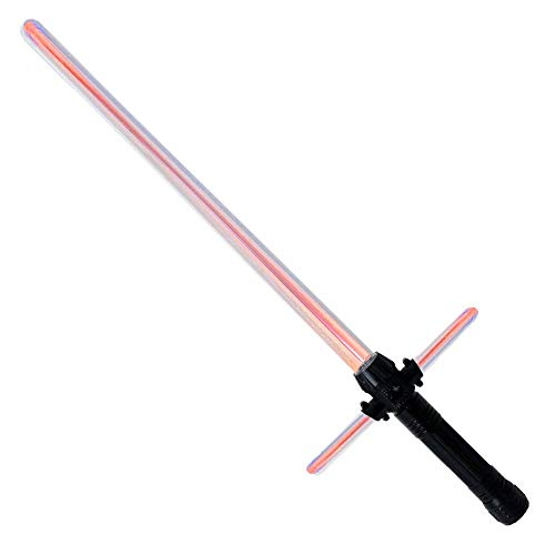 TE-Trend Lichtschwert Rot Laserschwert Lightsaber Kreuzschwert Leuchtschwert Sound Licht Zuschaltbar Kinder Kostüm Zubehör 69x23cm