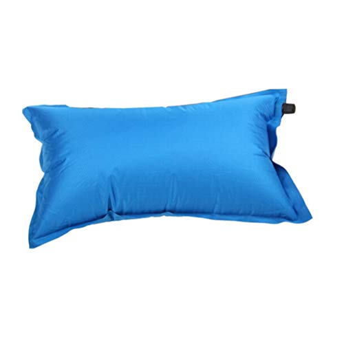 Camping plein air automatique oreiller gonflable respirant éponge oreiller camping plein air oreiller bleu
