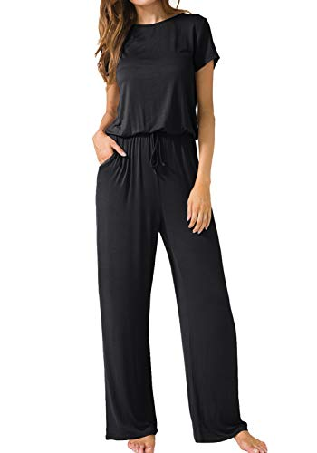 LAINAB Womens Casual Short Sleeve O Neck Wide Legs Playsuits Jumpsuits Black S