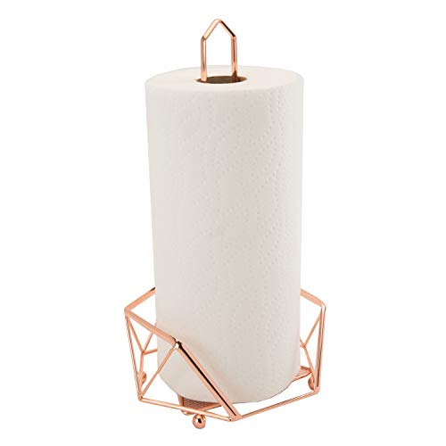 Kitchen Details Geode Paper Towel Holder, Counter Top, Free Standing, Holds 1 Large Roll, Rust Resistant, Decorative, Copper