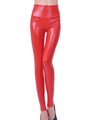 Gladiolus Mujeres PU Cuero Leggings Skinny Elásticos Treggings Pantalones Cintura Alta Leggins Pantalon Rojo L