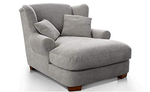 CAVADORE XXL-Sessel Oasis / Großer Polstersessel im modernen Design / Inkl. 2 schöne Zierkissen / 120 x 99 x 145 / Webstoff in silver