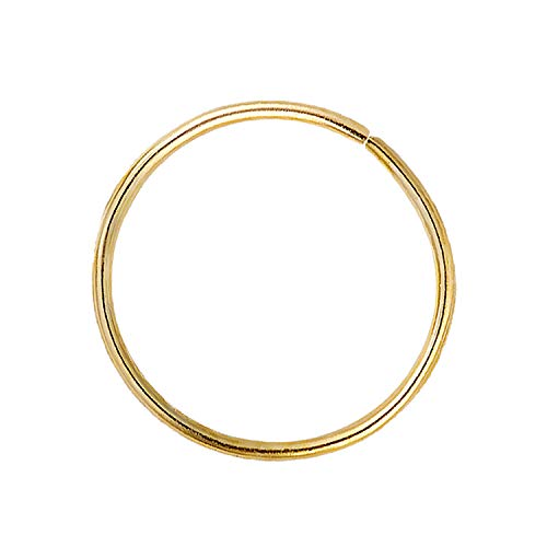 Solid 14Kt Gold Nose Hoop, 24G (0.48mm) Cartilage Earring, Nose & Ear Piercing Hoop, 8MM - 10MM 14kt Yellow Gold Helix Hoop, Tragus ring, Rook Ring, Daith Hoop Ring