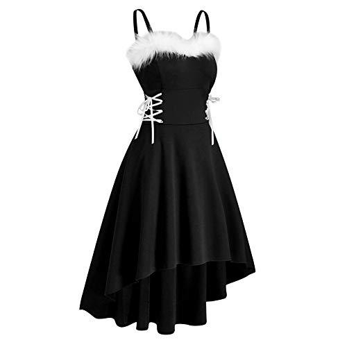 YINZI Women Plush Off-Shoulder Christmas Camisole Dress Drawstring Bandage Lace-Up Asymmetric Hem Pleats Dress Prom Down(Black,Large)