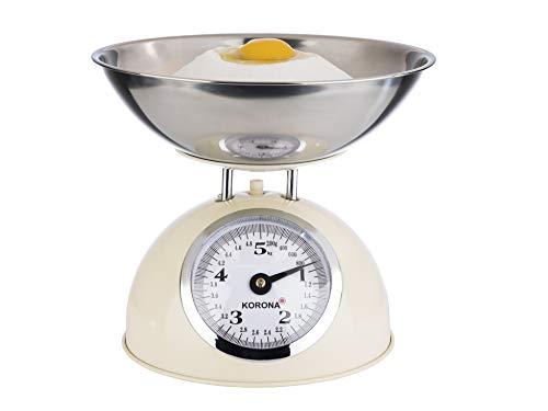Korona 76151 Retro balance de cuisine PAUL | capacité 5 kg, graduation 20 g | plateau en acier inoxydable inclus | tare - fonction de pesage supplémentaire | grande balance à affichage complet