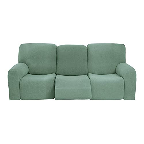 ELYSYSRL Soft Recliner Slipcover For 3 Cushion, 8-Pieces Waterproof Stretch Recliner Slipcover Spandex Non Slip Sofa Slipcover With Side Pockets Furniture Protector, Washable-Bean Green
