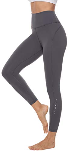 Persit Damen 7/8 Leggings, Sporthose Yogahose Sport Leggins für Damen Yoga Tights Grau-M
