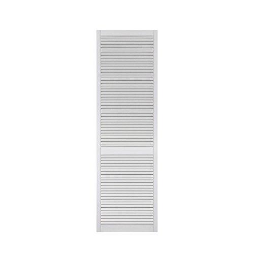 1-er Pack/Ein Stück Lamellentüren weiß seidenmatt mit offenen Lamellen Kiefernholz 2013 x 594 x 21 mm für Regale, Schränke, Möbel - EINBAUFERTIG grundiert & lackiert