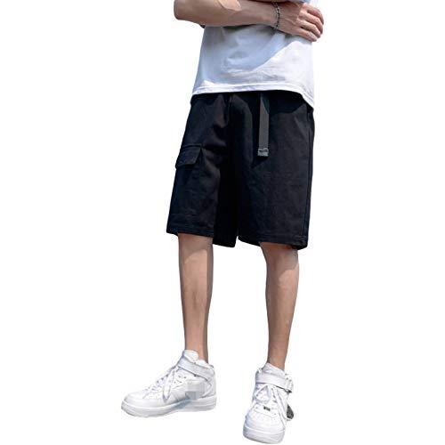 Verano Casual Suelto de Gran tamaño Fino Multibolsillos Pantalones para Correr Pantalones de Moda Cool Hipster Streetwear L