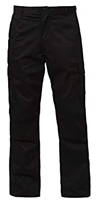 Rothco Relaxed Fit Zipper Fly BDU Pants, Black, L