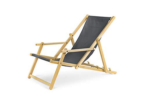 Chaise longue de jardin en bois, Transat, Chaise longue relax de plage, chaise longue avec accoudoirs. gris