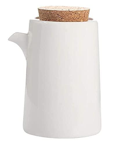 Dispensador De Botella De Aceite De Oliva O Vinagre De Cerámica Artesanal De 300 Ml, Con Tapón De Corcho, Dispensador De Condimentos Líquidos Para Cocinar En La Cocina,Blanco