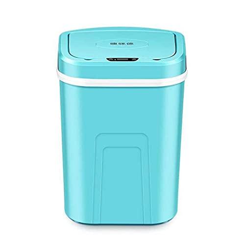 zxb-shop Bote de Basura Inducción Smart Basura Can Hogar Sala de Estar Dormitorio Baño Automático Indoor Eléctrico Sensor Smart Basura Interior Poder Cubos de Basura (Color : Blue)