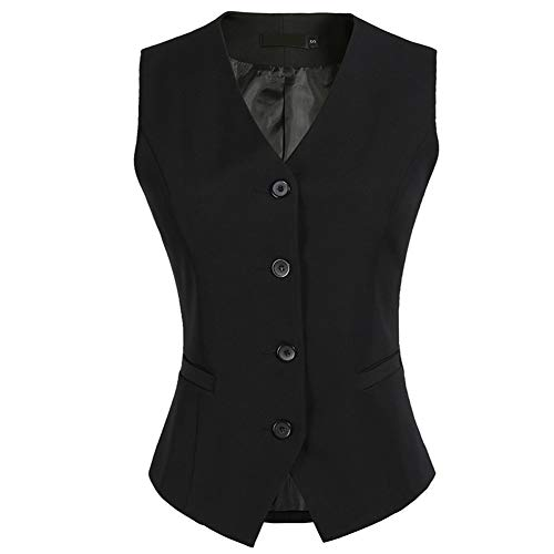 CYSTYLE Damen Weste Anzug Weste Anzugweste Kellnerweste Freizeitweste Slim fit(Schwarz, EU S=Asia XL)