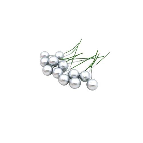 VALICLUD 48Pcs Künstliche Stechpalmenbeeren Gefälschte Beeren Dekor auf Draht für Weihnachtsbaumdekorationen Blumenkranz DIY Handwerk Verwenden (Silber)