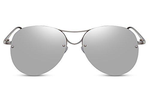 Cheapass Gafas de Sol Piloto Redondas con Espejos Plateadas UV400 Sin Montura Lisas Hombre Mujer