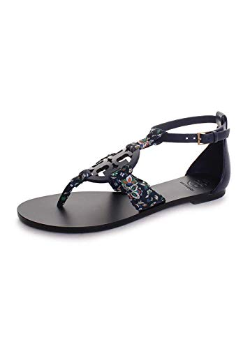 Tory Burch Miller Scarf Leather Sandals in Royal Navy Navy Soliel