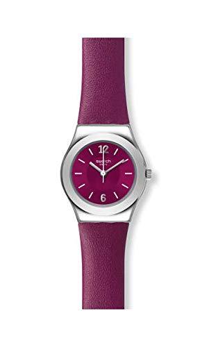 Swatch Damen Analog Quarz Uhr mit Leder Armband YSS330