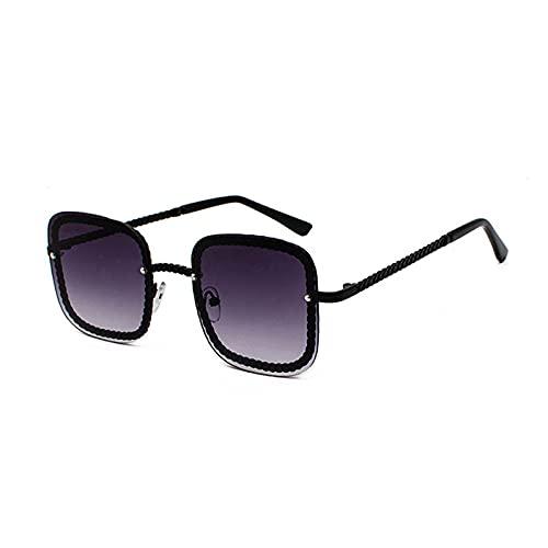 Gafas De Sol Gafas De Sol Unisex De Lujo Sin Montura para Mujer, Gafas De Sol De Gran Tamaño Cuadradas Famosas A La Moda para Mujer C2Black-Grey