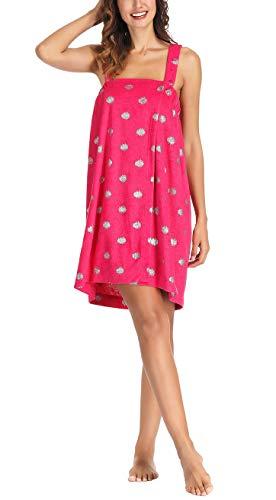 Women Bathrobe, Kimono Shower Wrap, Thin Lightweight Bath Robe, Hot Pink-dots, One Size
