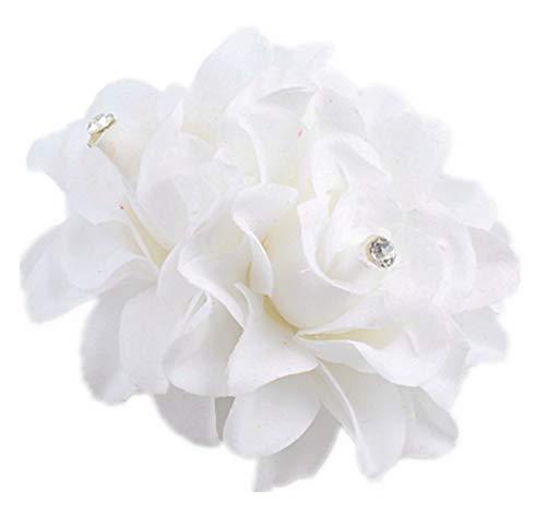 Plus Nao(プラスナオ) ヘアクリップ ヘアピン ヘアアクセサリー ヘッドドレス コサージュ フラワーモチーフ お花 髪飾り 髪留め レディース - ホワイト