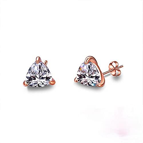 XAOQW Hembra Lindo pequeño triángulo Pendientes de Cristal de Diamantes Pendientes de Zafiro 925 Plata de Ley Damas Pendientes de Oro Rosa-Rojo