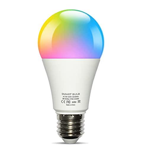 Alexa Light Bulbs Lámpara LED inteligente 9W 850LM WiFi Smart Light Bulb App Control Compatible con Alexa Echo Google Home Alexa Control de voz RGB Dimming Color Light Bulb Graffiti Smart Life,B22