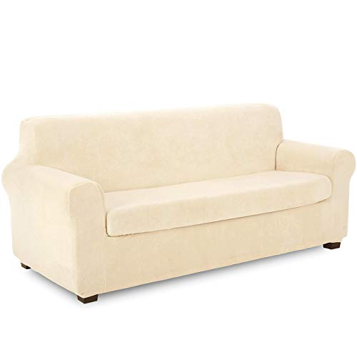 TIANSHU 2 Piece Velvet Sofa Cover, Soft Plush Couch Cover for 3 Cushion Couch, Anti-Slip High Stretch Sofa Slipcover for Living Room, Stylish Fleece Furniture Cover Protector.(Sofa, Ivory)