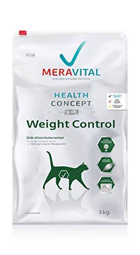 MERAVITAL Weight Control Katzenfutter trocken 3 kg für Katzen fördert Fettverbrennung für gesundes und schmackhaftes Abnehmen bei Übergewicht