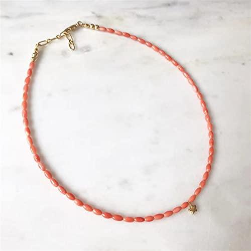 QWEQWE Mujeres Moda Exquisito Natural Coral Collar Star Gargantilla Banquete Accesorios (Metal...