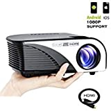 Varmax LED Home Projector Mini Compatible with Chromecast Fire Stick iPhone& Android Support HD 1080P Multimedia Video with Free HDMI Cable& Remote Control