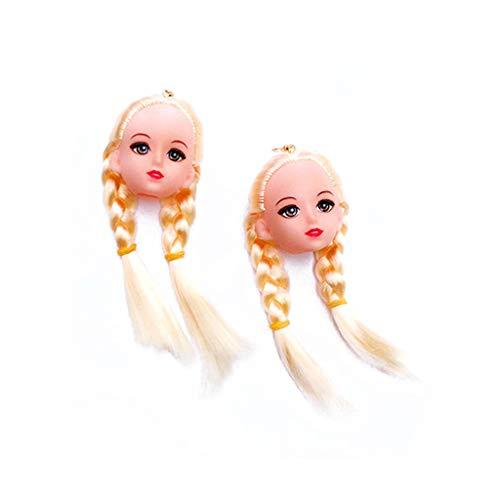 VEED Creativo Pelo Amarillo muñeca Cabeza Juguete Pendientes Colgantes joyería de Moda para Mujeres niñas
