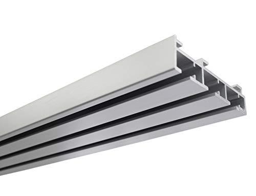 Gardinia Flächenvorhangschiene 3-läufig, Wand- oder Deckenmontage, Aluminium, 160 cm, Silber
