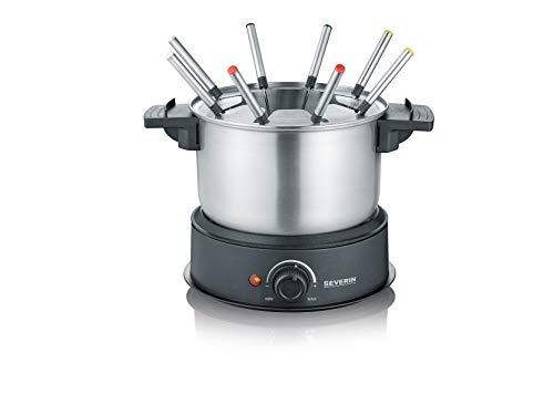 Severin FO 2470 Fonduta Bourguignonne, Pentola in acciaio inox termostato regolabile in continuo, 8 forchettine, Lavabile in lavastoviglie, Cavo XXL, Potenza 1500 Watt