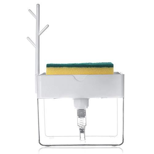 Kit Dispensador de Jabón Líquido, Dispensador de Jabón 2 en 1 para Bomba de Fregadero, Organizador de Fregadero de Esponja, para Cocina, Baño, Encimera de Fregadero (Blanco)