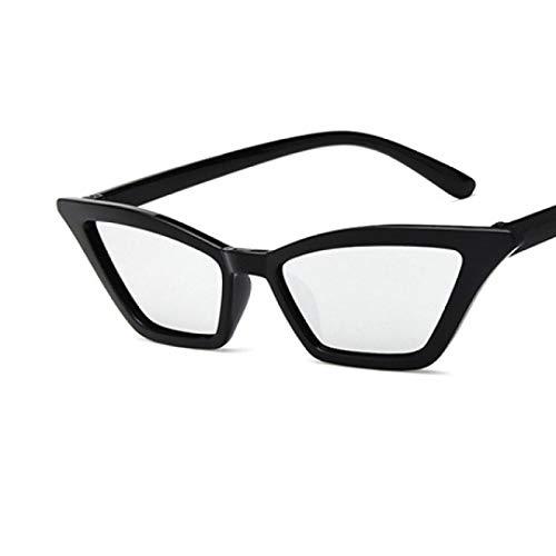 Gafas de Sol Sunglasses Gafas De Sol De Ojo De Gato A La Moda para Mujer, Gafas De Sol De Diseñador De Lujo, Retro, Pequeñas, Rojas, para Mujer, Gafas Uv400 C7Blacksilver