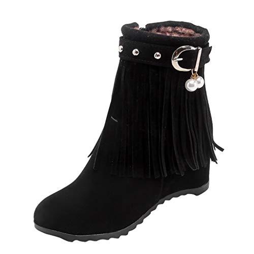 Brillanto Botas Mujer Tacon Flecos Botines Mujer con Cremallera Zapatos Mujer Tacon Alto 8cm Tallas 35-43