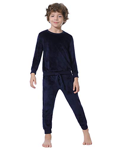 Abollria Nicki Hausanzug Samt Kinder Pyjama Set Velours Kuschelig Fleeceanzug Jungen Zweiteiliger Trainingsanzug für Herbst Winter Runghals Pullover + Hose