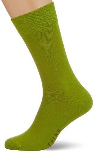FALKE Calcetines Family de algodón para hombre, color blanco y negro, muchos otros colores, calcetines reforzados, sin patrón, transpirables, delgados y lisos, 1 par Verde (Bamboo 7187). 39-42